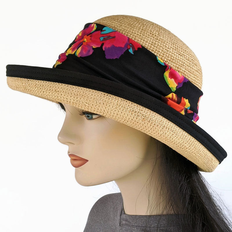 201-1b Raffia Straw sun hat with finished edge, adjustable fit, removable black floral headband