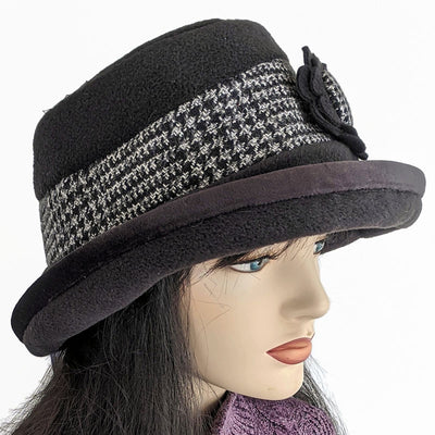 Premium Fashion Hat in Black with houndstooth trim