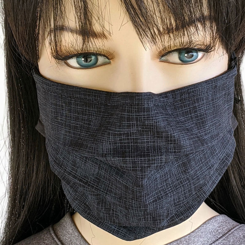 3 layer pleated folding style fabric face mask, black and grey linen look, one size