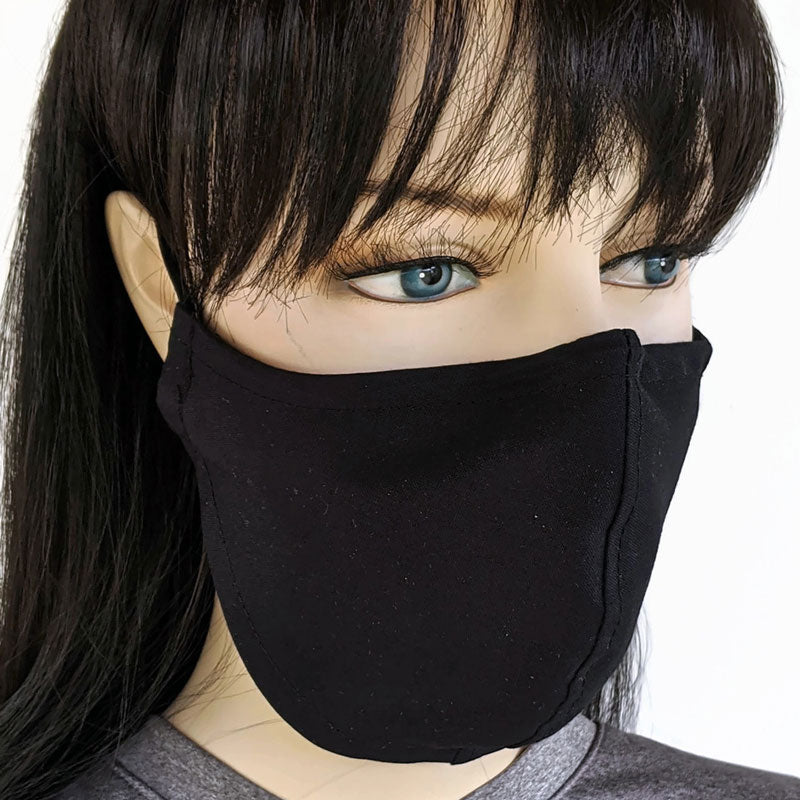 Three layer fabric face mask, solid black, all three sizes available