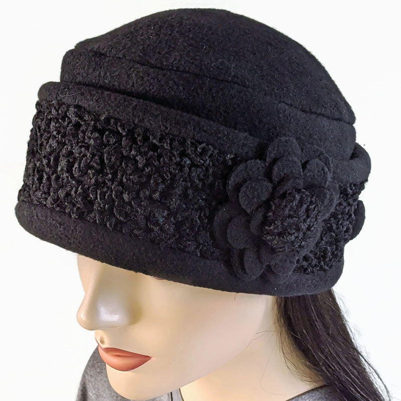 Persian Lamb faux fur and fleece fashion toque in black, optional ear saver buttons