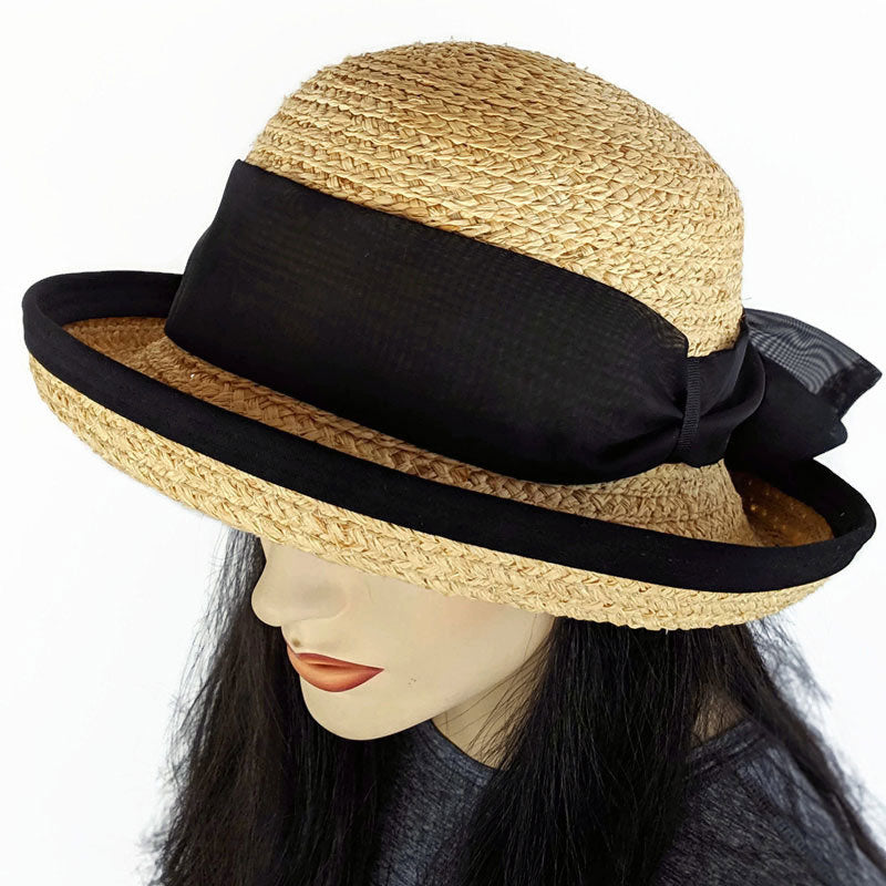 202 Raffia Straw sun hat with belt loops, black edge and black scarf trim
