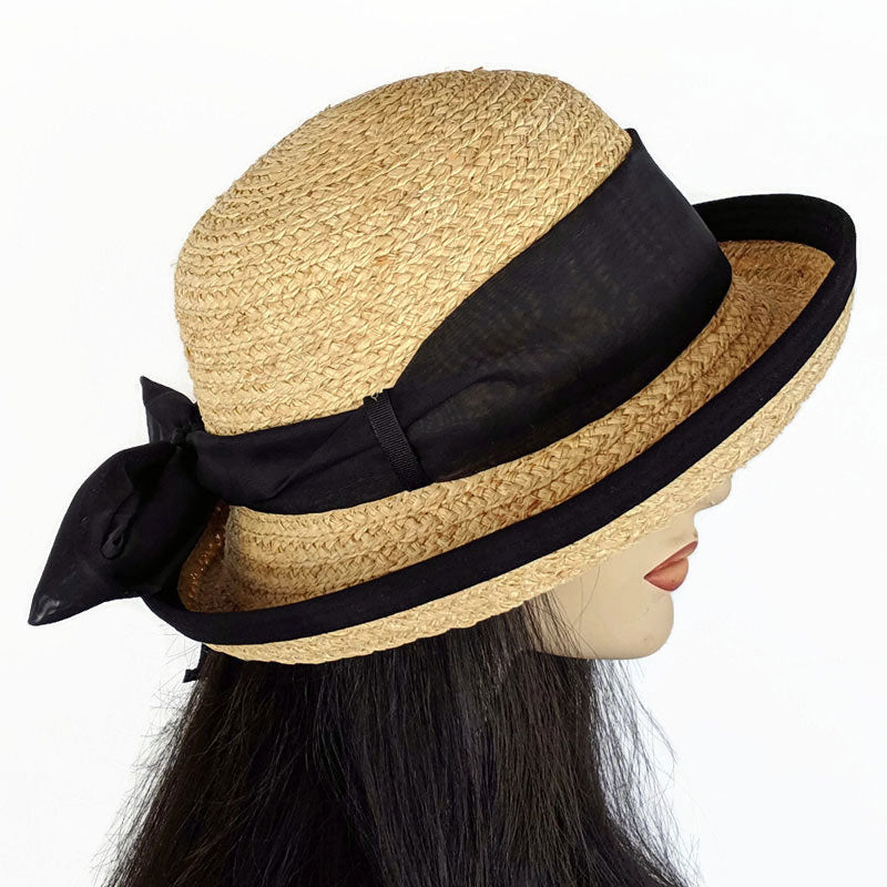 201a Raffia Straw sun hat with belt loops, black edge and black scarf trim