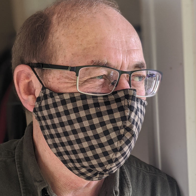 3 layer fabric face mask, black and tan plaid, unisex, in adult regular and adult large