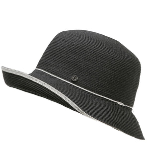 213 Straw Travel Hat in Black with white trim