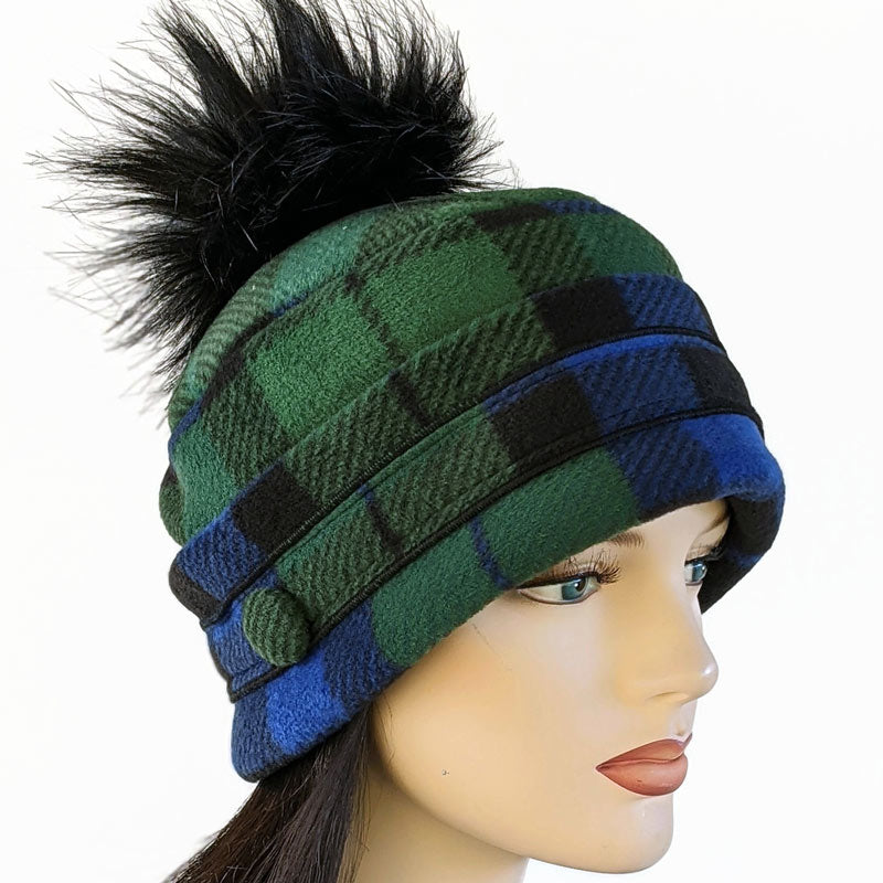 Pom Pom Toque in Black Watch plaid with optional ear saver buttons