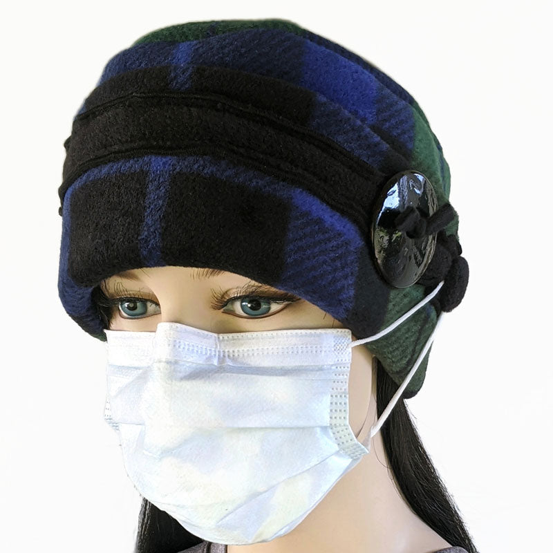Big Button toque with mask ear saver buttons, black watch plaid