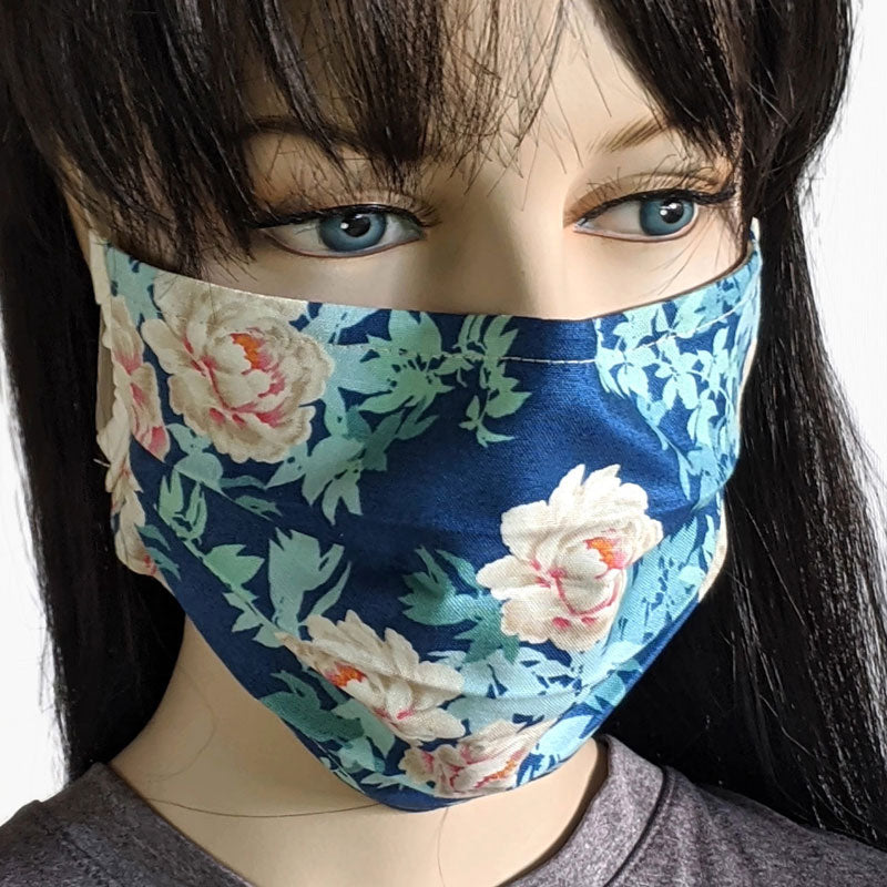 3 layer pleated folding style fabric face mask, pink and cream roses on blue, one size
