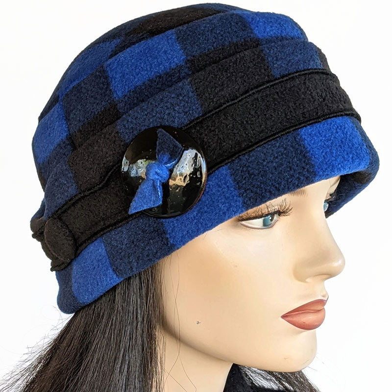 Big Button toque with ear saver buttons, in royal and black plaid check