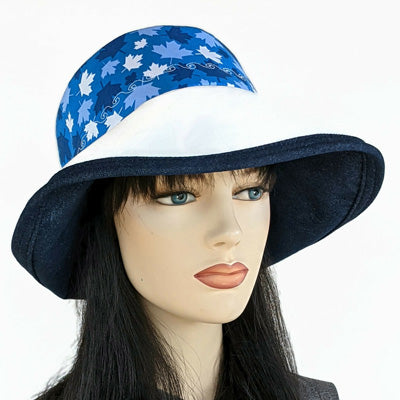 101-b Sunblocker UV summer sun hat featuring Canada blue and white maple leaves