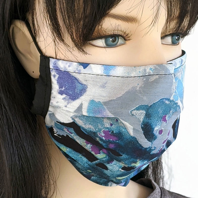 Beautiful designer silk cotton pleated face mask, with poly cotton lining, assorted prints