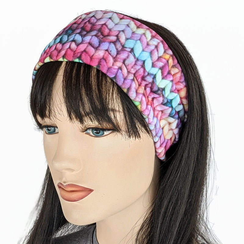 Premium, wide turban style comfy wide jersey knit  headband, bright knit print