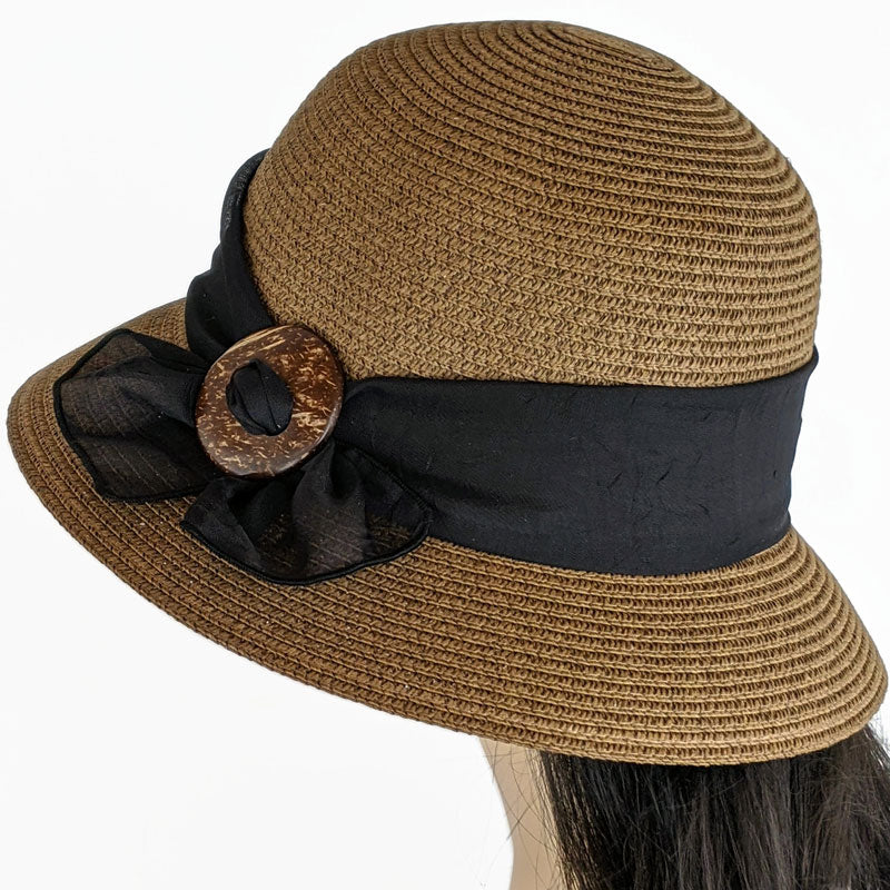 217 Cute Cloche straw bucket hat in brown with black scarf and coconut buckle trim