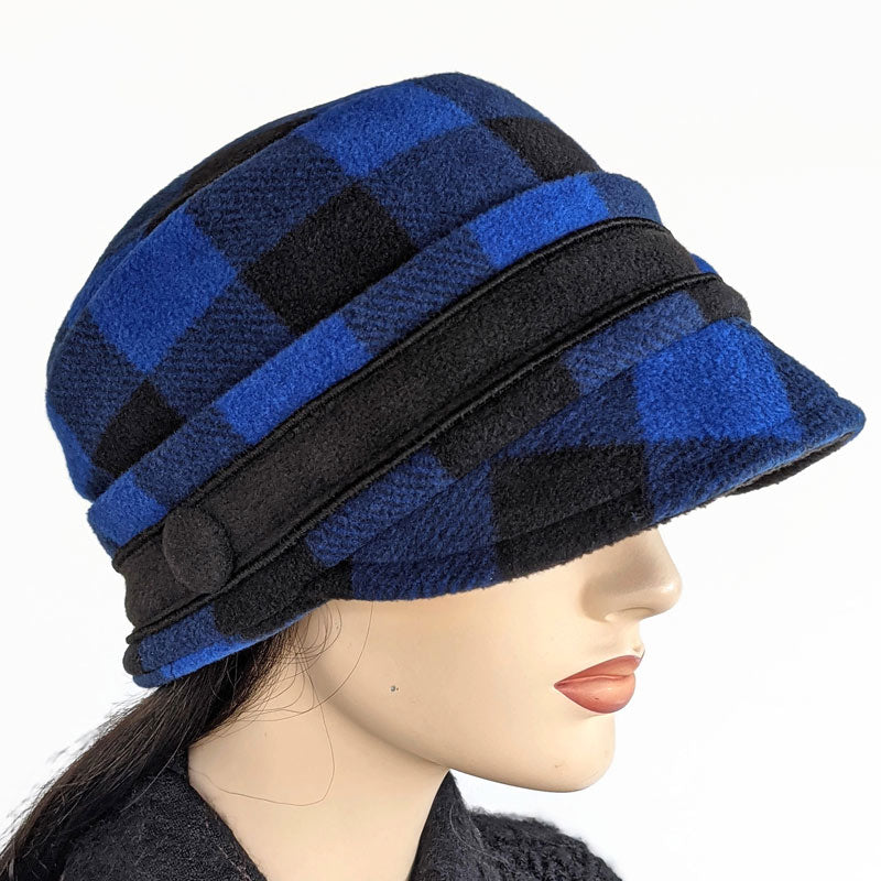 Fleece Cap in Royal and Black plaid check, with ear saver mask buttons, one size