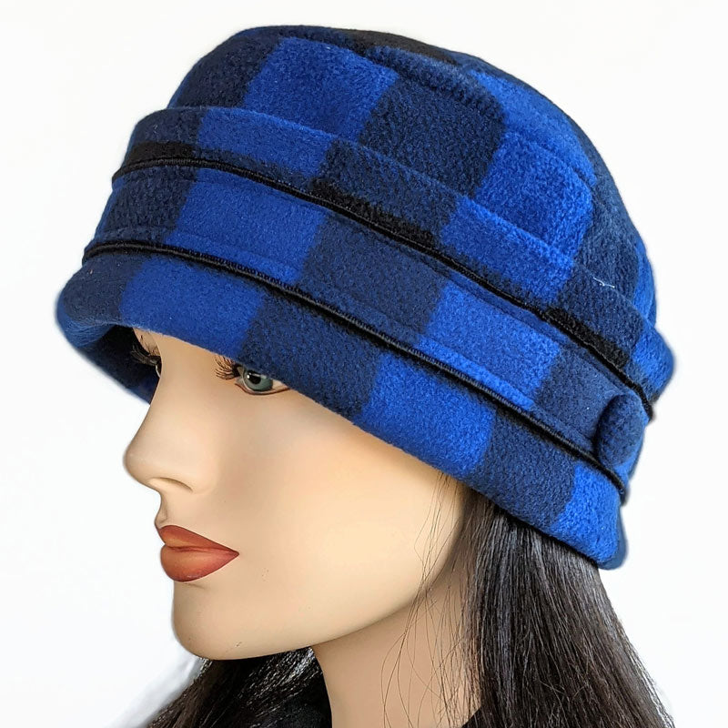 Unisex Fleece Toque with adjustable cuff, royal and black check, two sizes