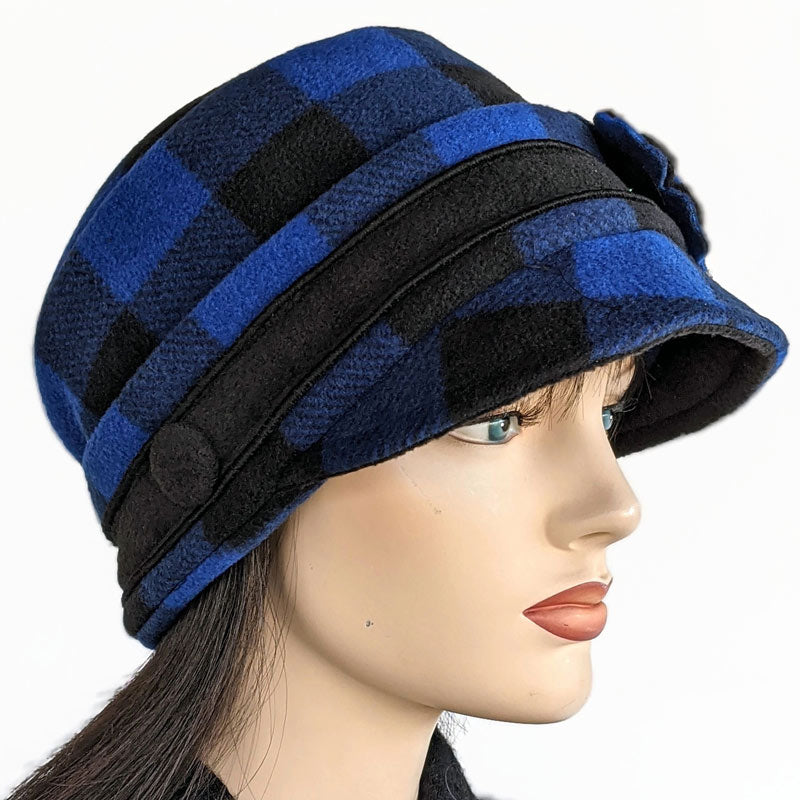Fleece Fashion Cap in Royal and Black Buffalo Check, with pin and ear saver mask buttons