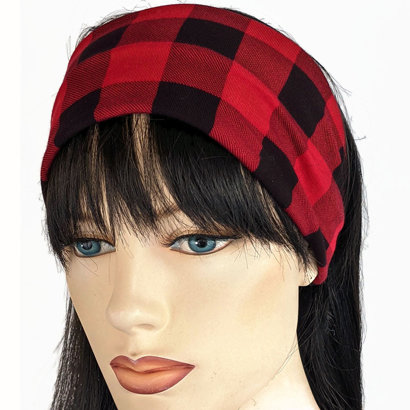 Bamboo blend wide turban style comfy wide knit headband, red and black plaid