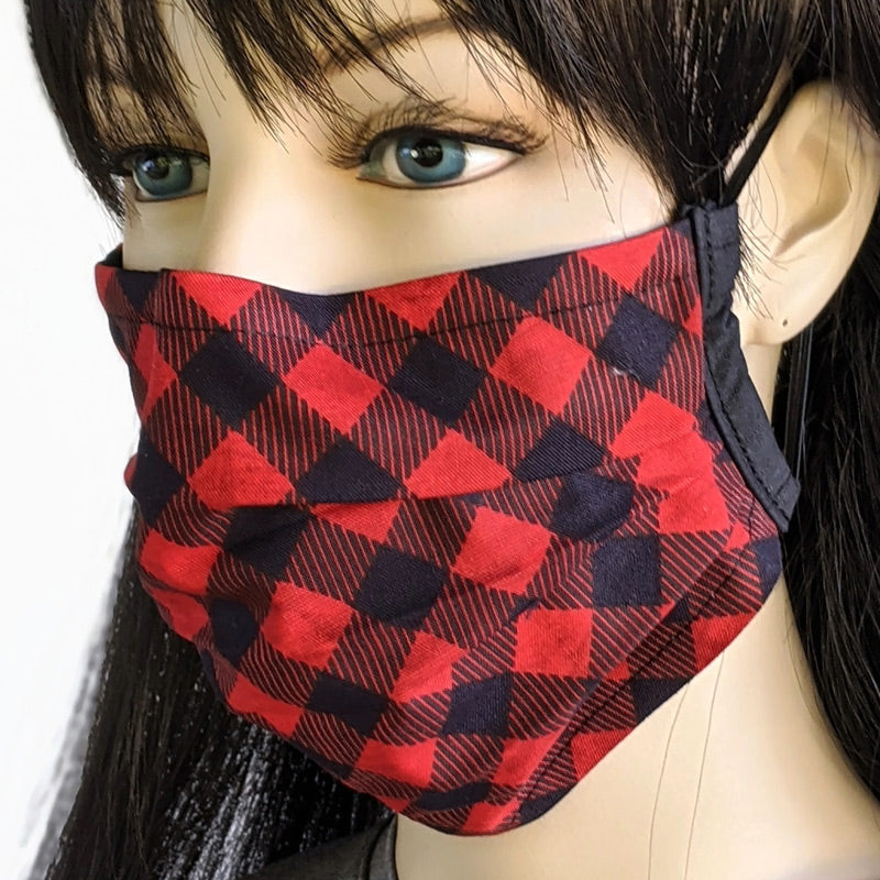 3 layer pleated folding style fabric face mask, buffalo check in red and black, two sizes