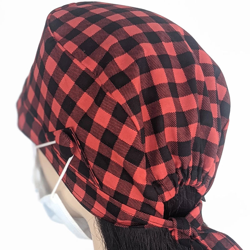 Cotton scrub cap, elastic and tie fit, mask elastic buttons, red and black check print