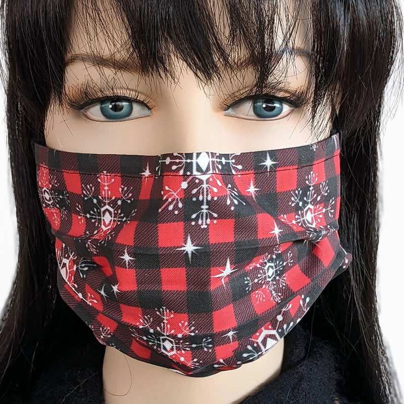 Designer 3 layer pleated folding style fabric face mask, buffalo check in red and black with snowflakes