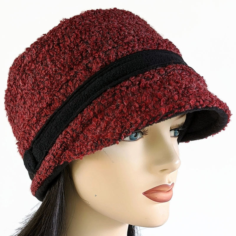 Fashion cap in burgundy black mix boucle, with ear saver buttons