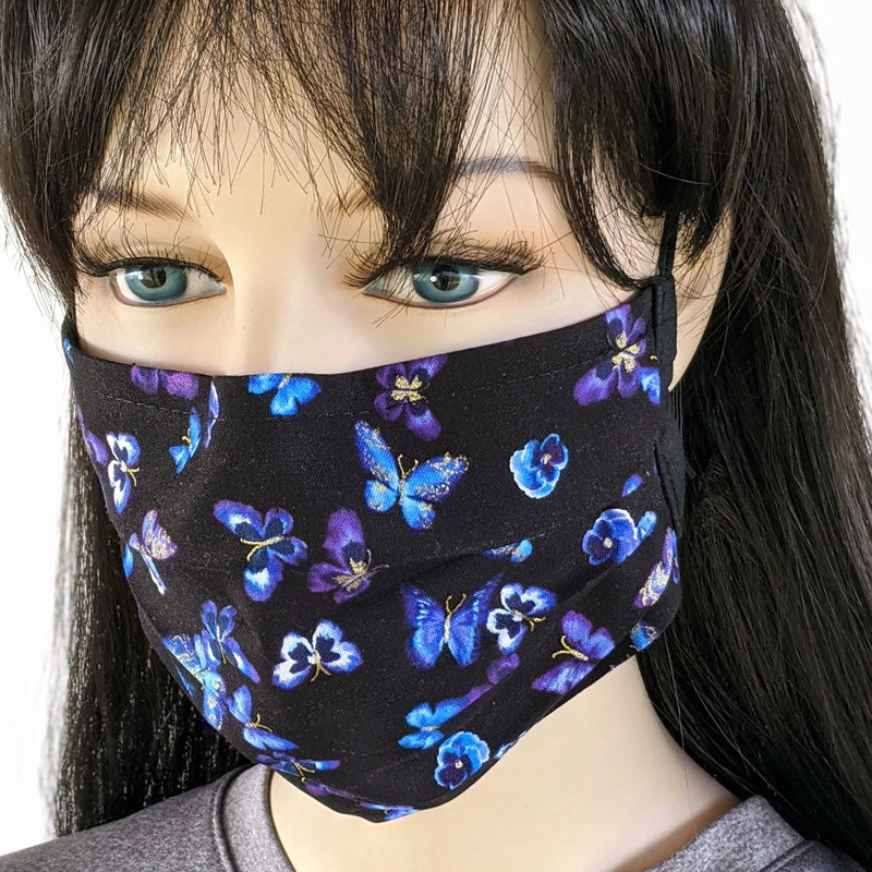 3 layer pleated folding style fabric face mask, beautiful butterflies on black, one size
