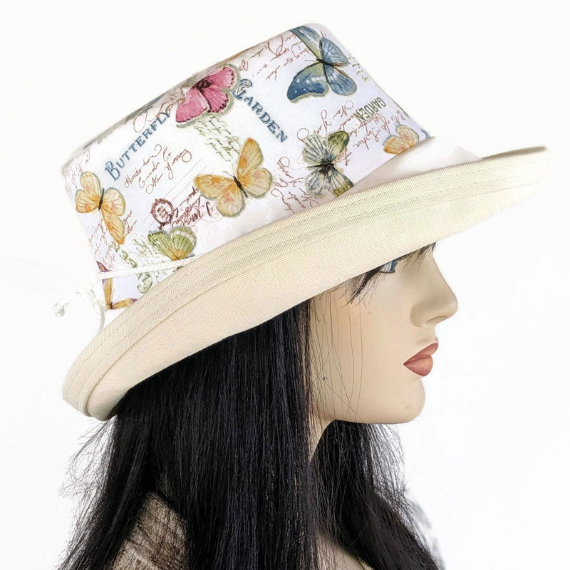 113 Sunblocker UV summer hat sun hat with large wide brim featuring french inspired butterflies