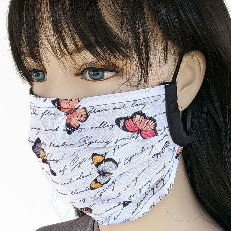 3 layers pleated folding style fabric face mask, butterflies and writing, one size