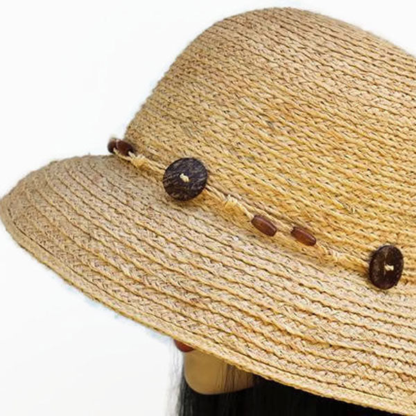 200 Raffia Straw cute as a button natural straw sun summer beach hat