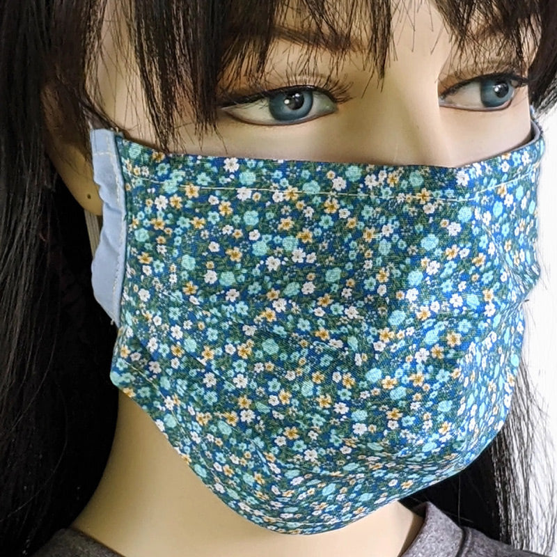 3 layer pleated folding style fabric face mask, small ditsy calico floral, assorted colors, one size