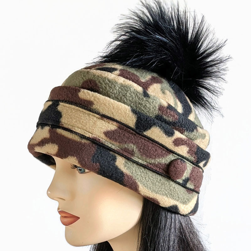 Pom Pom Toque in camo fleece with optional ear saver buttons