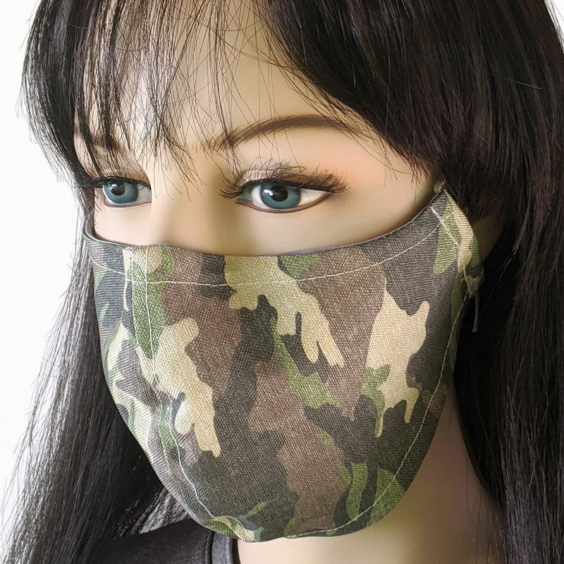 Cotton linen Fabric face mask, with poly cotton lining, camo, in two adult sizes