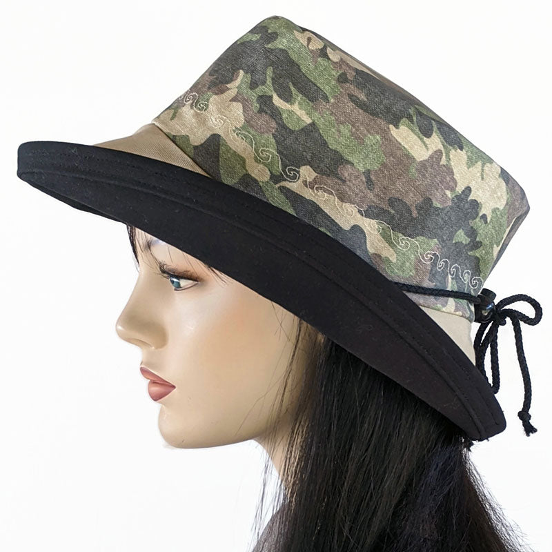 126 UV summer hat sun hat with large wide brim featuring faded camo print
