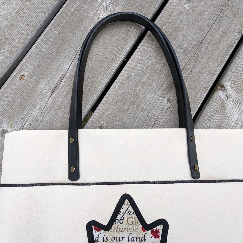 600 Premium Oh Canada Tote with leather handles