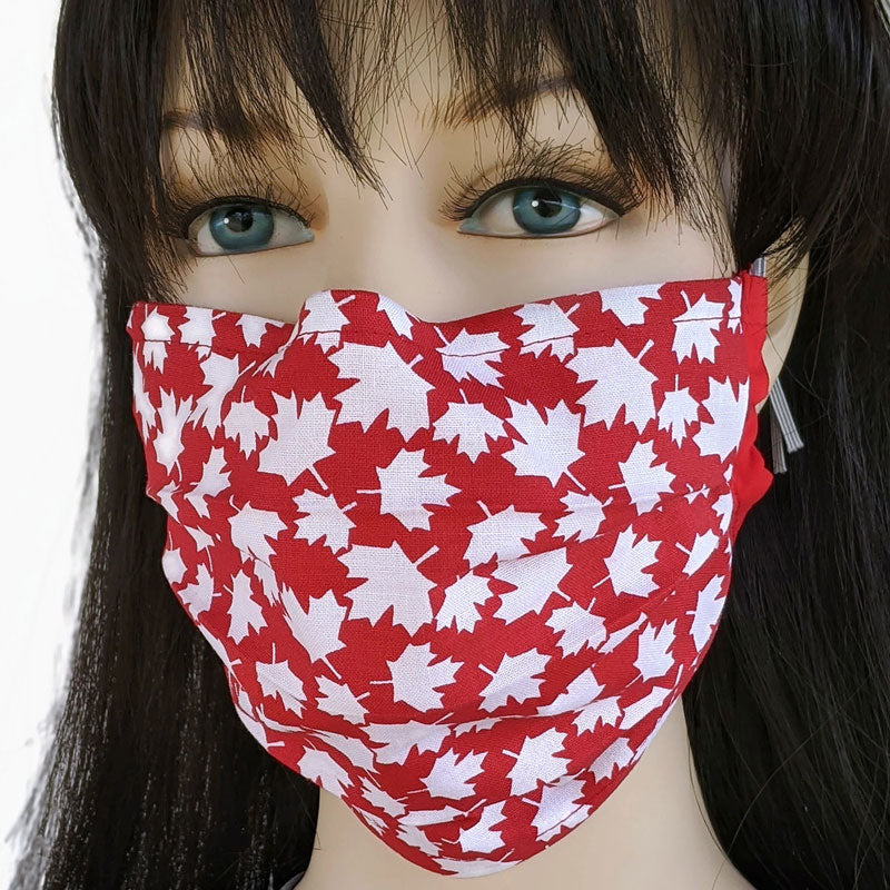 3 layer pleated folding style fabric face mask, Canada red and white maple leaves, one size