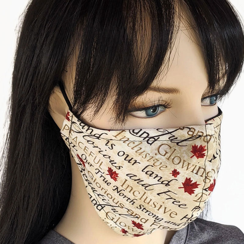 Fabric face mask, Canada print, 2 layers, regular adult size and large adult size