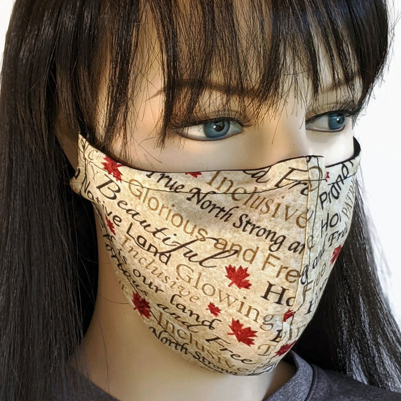 3 layer fabric face mask, Canada print, regular adult size and large adult size