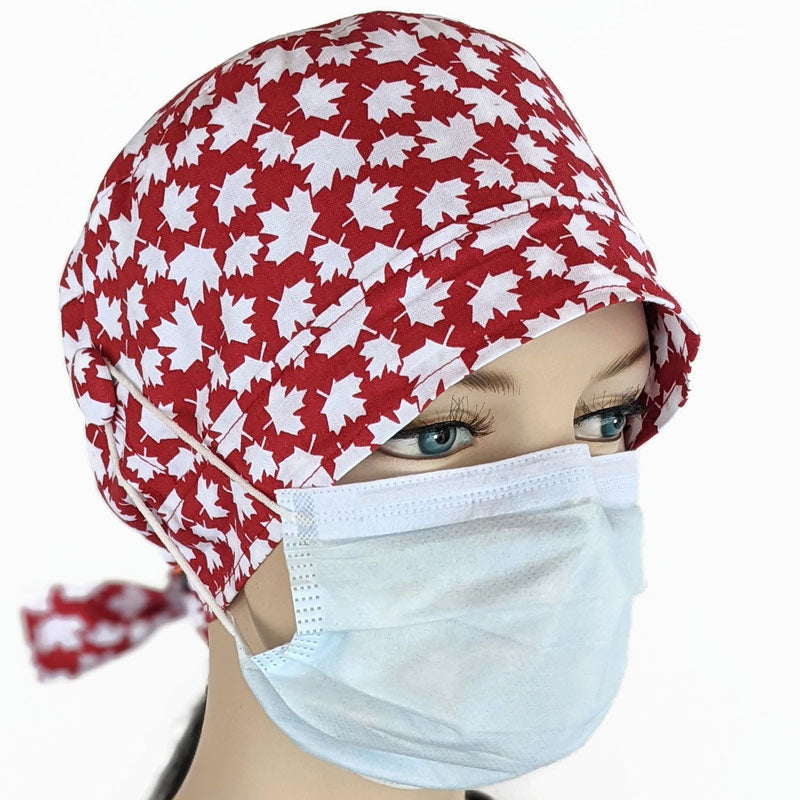 Cotton scrub cap, elastic and tie fit, mask elastic buttons, Canada red and white