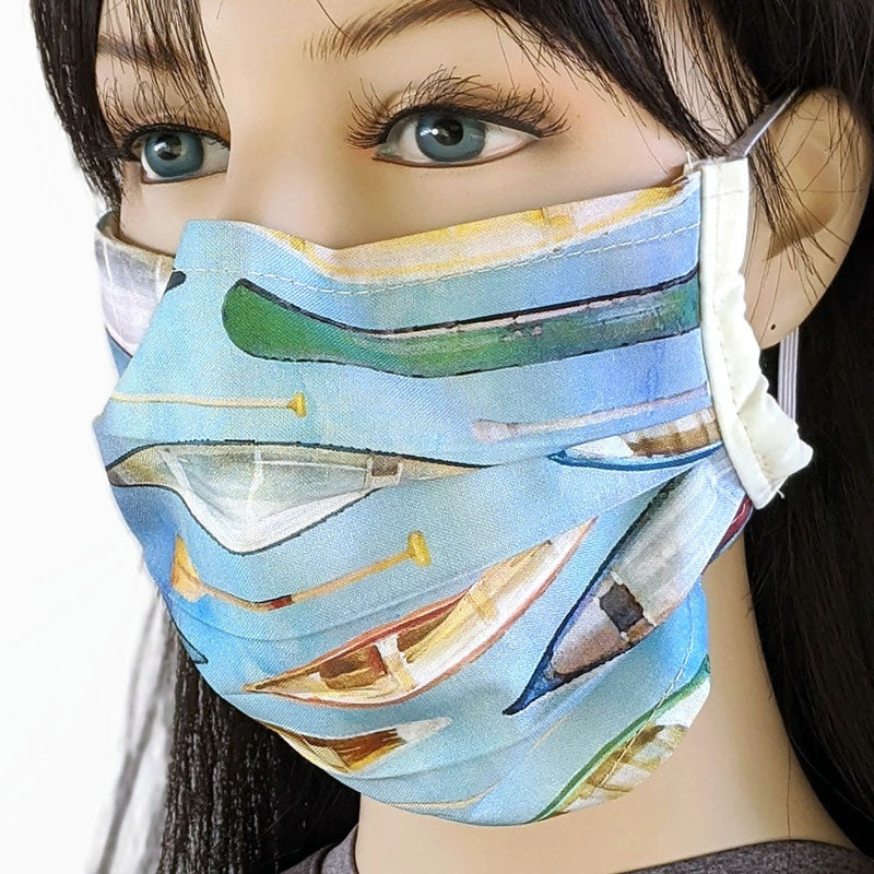 3 layer pleated folding style fabric face mask, featuring canoes and paddling and rowboats, one size