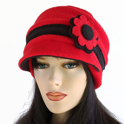 Fleece Cap with floral pin and four layers of ear protection