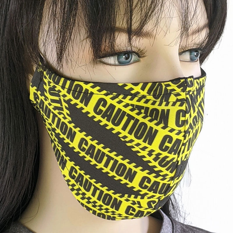 Cotton linen Fabric face mask, with poly cotton lining, Caution! in two adult sizes