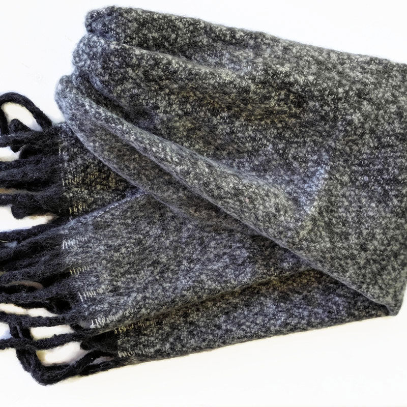 Soft knit woven scarf in charcoal and black and cream