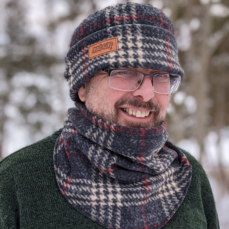 Fleece Toque with adjustable cuff, ear saver buttons, in charcoal plaid