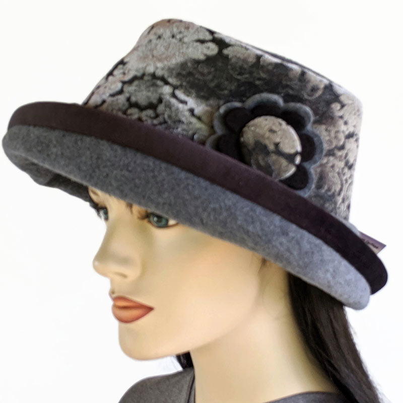 Premium Fashion Hat in charcoal with velvet trim, pin and earflap cuff