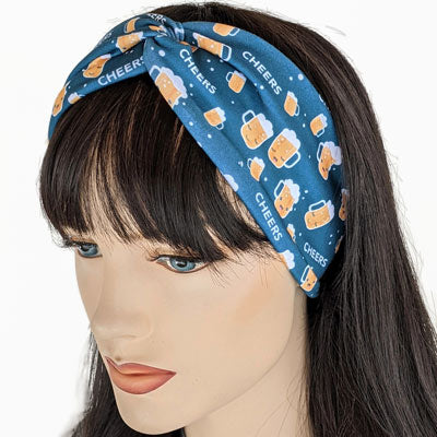 Premium, wide turban style comfy wide jersey knit  headband, cheers to beer