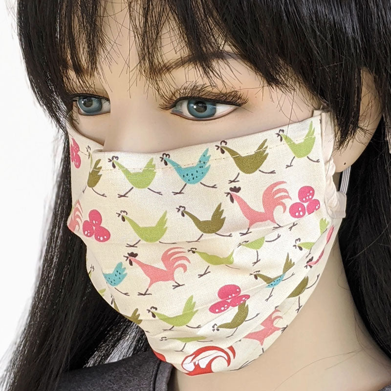 3 layer pleated folding style fabric face mask, running with the chickens, one size