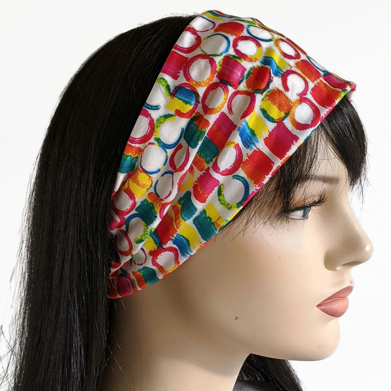 10 - Wide comfy jersey knit Headband, hat band in bright circles and squares
