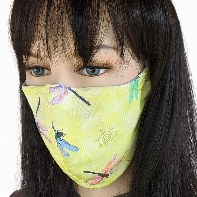 Cotton linen Fabric face mask, with poly cotton lining, fun whimsy dragonflies