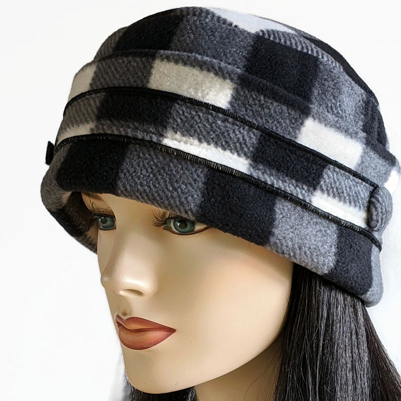 Big Button toque with ear saver buttons, cream and black buffalo check