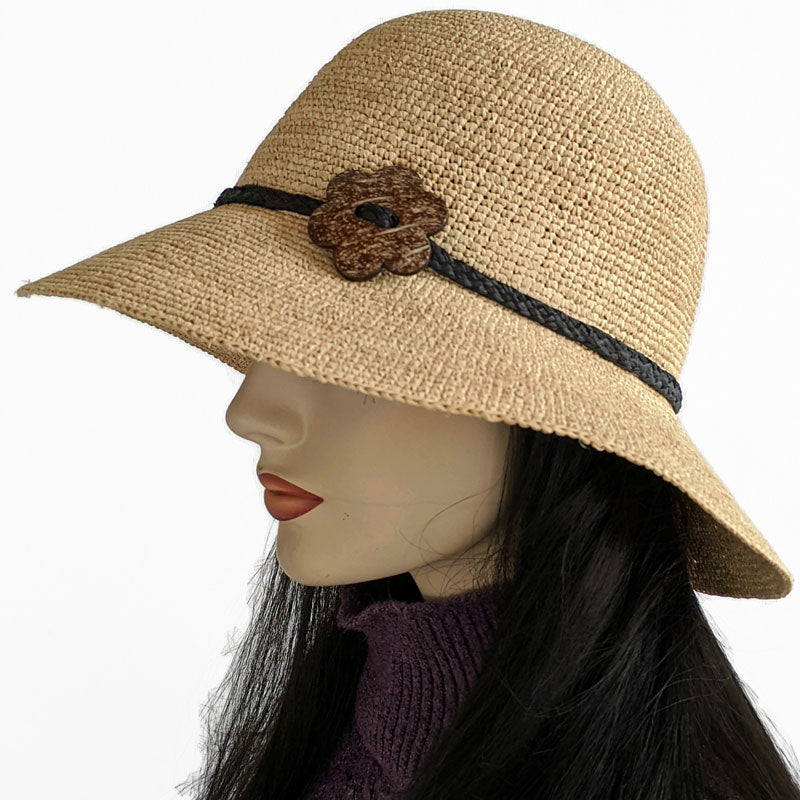 200-a Raffia wide brim sun hat with floppy bucket brim